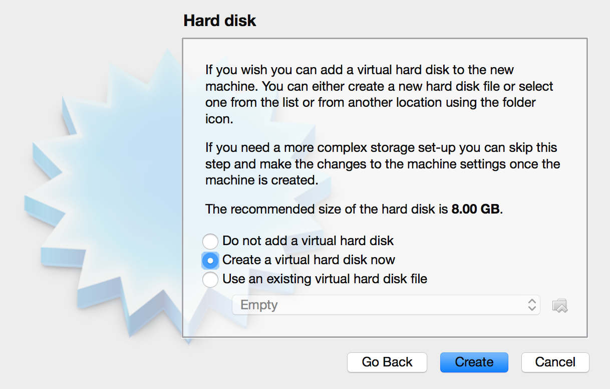 Selecting a virtual hard disk